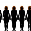 Fat Fit woman diet fitness after weight loss silhouettes - Image vectorielle