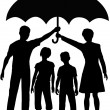 Family parents holding insurance security risk umbrella — Stock Vector