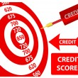 Stock Vector: Credit Score improvement target card dart