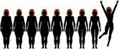 Vet passen fitness dieet de vrouw na gewicht verlies silhouetten — Stockvector