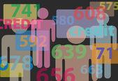 Números de cartão de relatório do bureau de crédito pontuação — Vetorial Stock