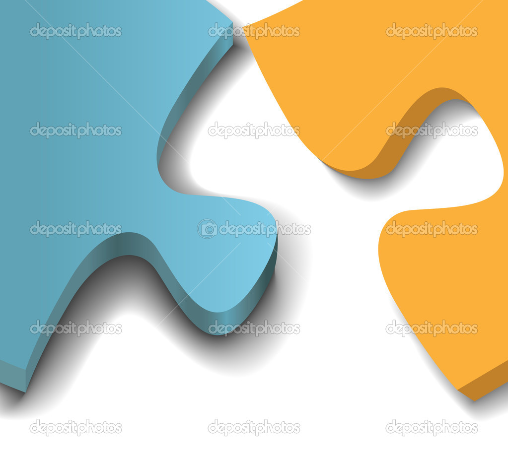 Close up of negative copy space formed by two jigsaw puzzle pieces — Stock Vector #6161225