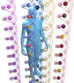 Mänskliga 3d dna genetisk vetenskap person — Stockfoto