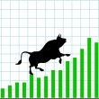 Up bull market rise bullish stock chart graph — Stock Vector