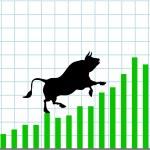 Up bull market rise bullish stock chart graph — Stock Vector #6200379