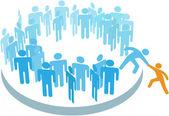 Helpen nieuwe lid join grote groep — Stockvector