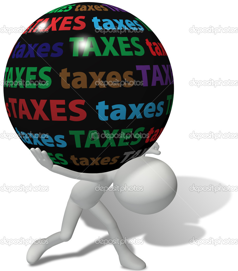 Taxpayer struggles under the weight of a large unfair burden of high taxes — Stock Photo #6259458