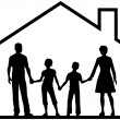 Family house parents kids inside safe home — Imagen vectorial