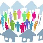 Social neighbor meet in home ring — Stock Vector #6258792