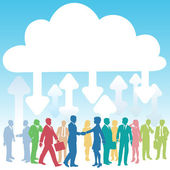 бизнес компании он облачных вычислений — Cтоковый вектор