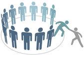 Ayudante ayuda amigo unirse a grupo de empresa de los miembros — Vector de stock