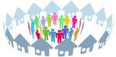 Social neighbor meet in home ring — Stock Vector