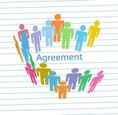 Company meet consensus agreement contract — Stock Vector