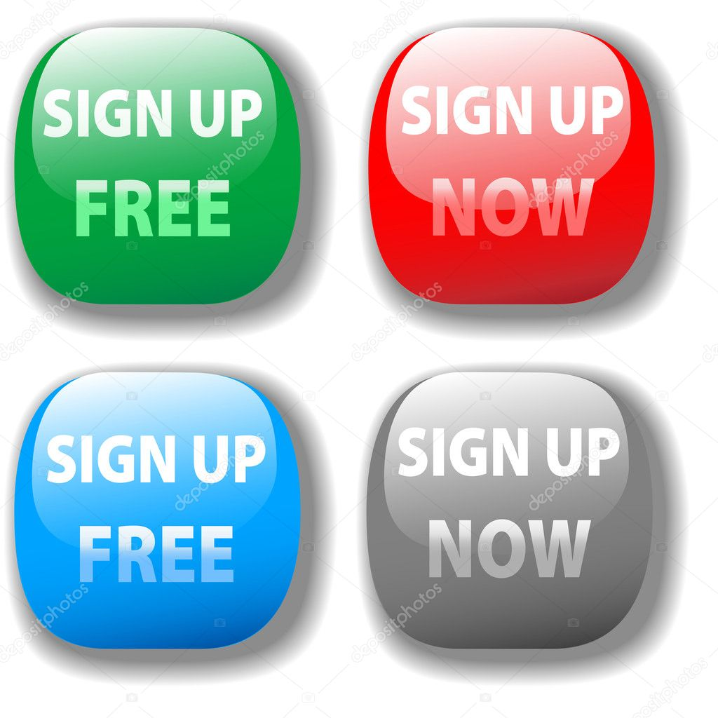 Sign Up Now Free Website Icon Button Set Stock Vector