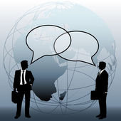 Global business team connect talk bubbles — Stock Vector