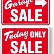 Garage arrow Today ONLY SALE sign — Stock Vector