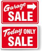 Sinal de seta hoje única venda de garagem — Vetor de Stock