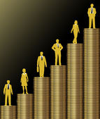 Investors grow wealth on gold coin stack chart — Stock Photo