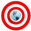 Earth at center of bulls eye on red world target — Stock Vector
