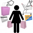 Woman shopper shop buy symbol icons set — Stock Vector