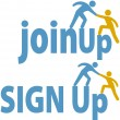 Member helps sign up join group icon - Stock Vector