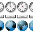 Stock Vector: World city time zone clocks and globes