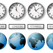 World city time zone clocks and globes — Stock Vector