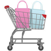 Shop mit warenkorb groß einzelhandel einkaufstaschen zu gehen — Stockvektor