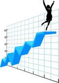Iş kişi kadar şirketin büyüme başarı grafiği — Stok Vektör