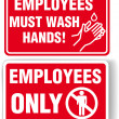 EMPLOYEES ONLY and WASH HANDS signs — Stock Vector
