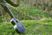 Acoustic guitar on a green grass — Stock Photo