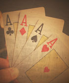 4 old aces poker cards close up — Stock Photo