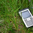 Mobile Phone in green grass — Stock Photo