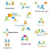 Conjunto de logotipos de comunidad — Vector de stock