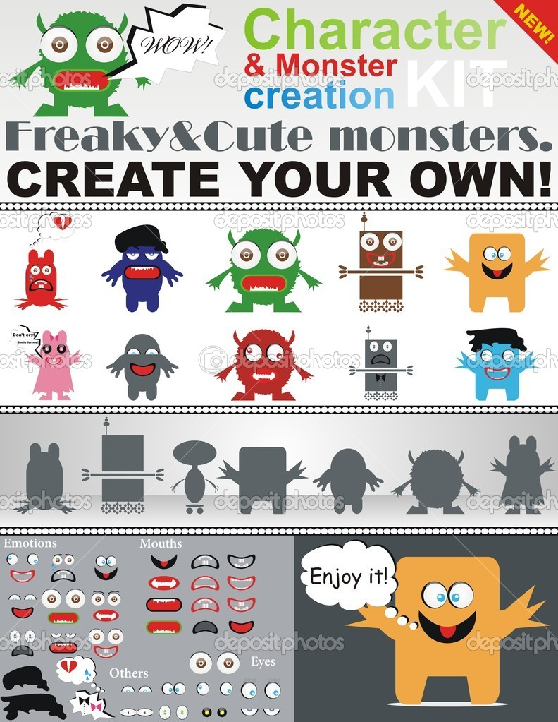 Character & Monster Creation Kit.A unique pack of freaky monsters you can use ever you want to!  Stock Vector #6437830