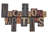Vacations word abstract — Stock Photo