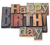 Happy Birthday in letterpress type — Stockfoto