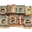 Stockfoto: Blind date in letterpress type