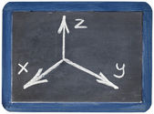 Cartesian coordinates xyz on blackboard — Stock Photo