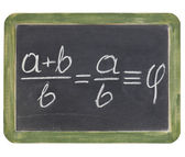 Golden ratio on blackboard — Stock Photo