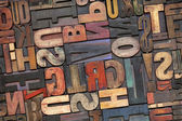 Tipo de impressão tipográfica de madeira com pátina de tinta — Foto Stock