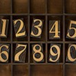 Wood numbers - vintage letterpress type — Stock Photo