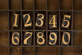 Wood numbers - vintage letterpress type — 图库照片