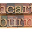 Stock Photo: Heartburn word in letterpress type