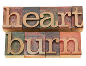 Heartburn word in letterpress type — Stock Photo