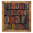 Vintage wood type blocks - Stock Photo