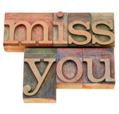 Miss you in letterpress type — Stock Photo