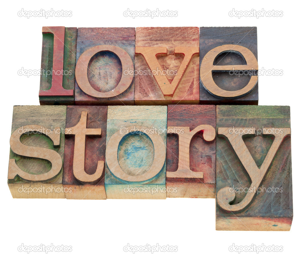 Love story - isolated words in vintage wood letterpress printing blocks  Stock Photo #6001451