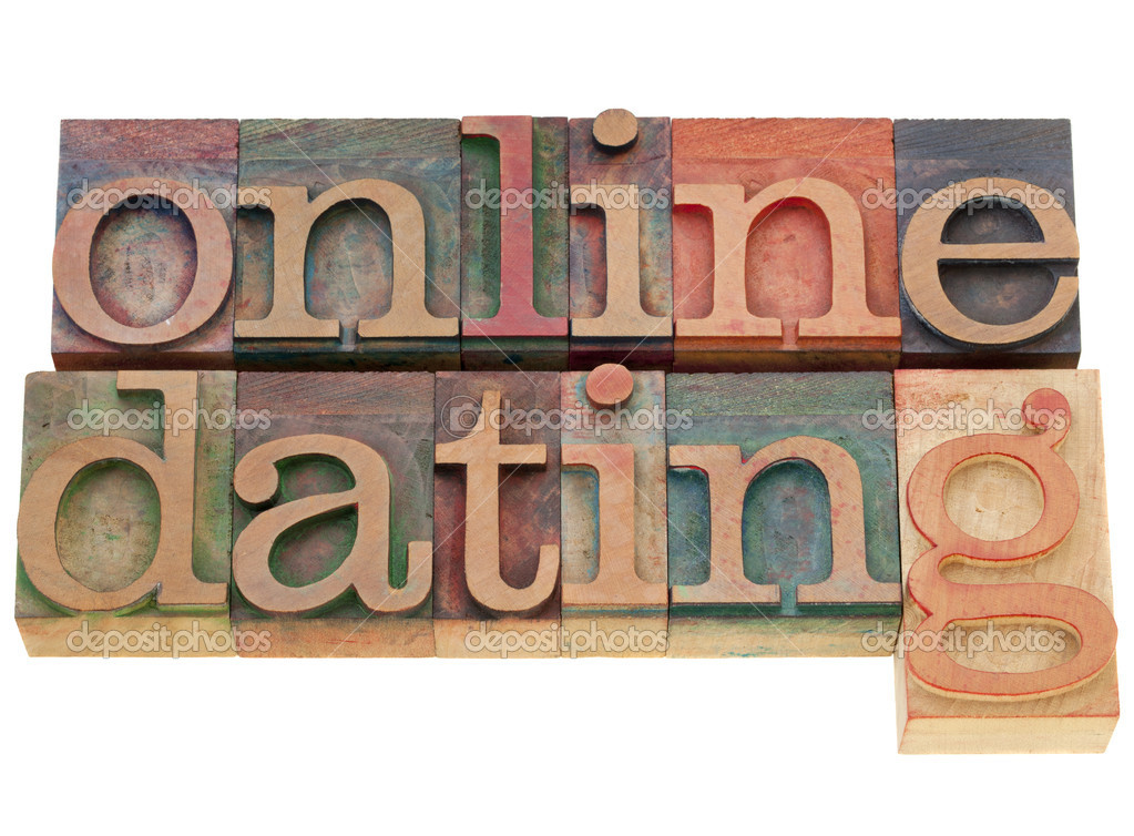 Online dating - isolated words in vintage wood letterpress printing blocks — Stock Photo #6001504