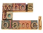 Quem é a culpa pergunta — Foto Stock
